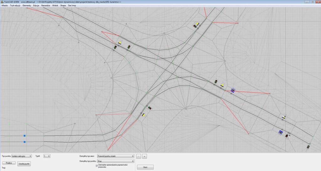 Tram CAD: Edycja sieci trakcyjnej.