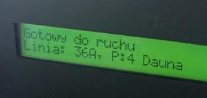 Przykładowy wyświetlacz tekstowy komputera pokładowego